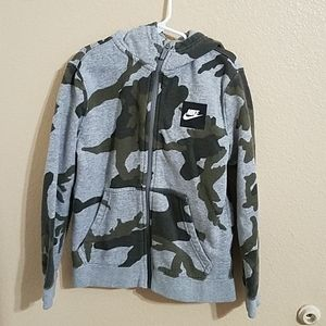 Nike Boys Camouflage Full Zip Hoodie Size Small